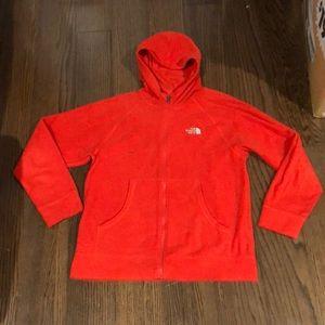 The North Face Orange fleece hoodie jacket 14-16